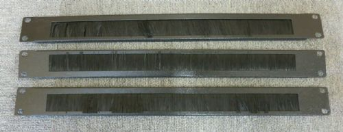 "Job Lot 3 x Rack Mount Cable Management Brush Strip Panel 1U 19"" Black"